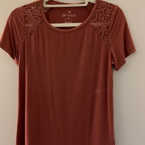 american eagle soft and sexy burgundy embroidered